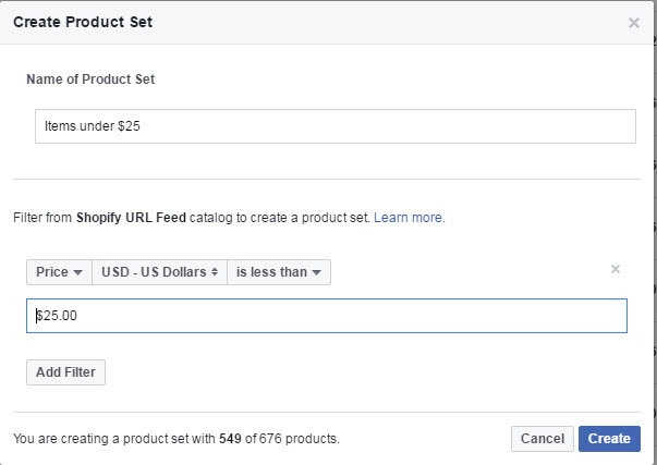 how to make product sets within your facebook product catalog